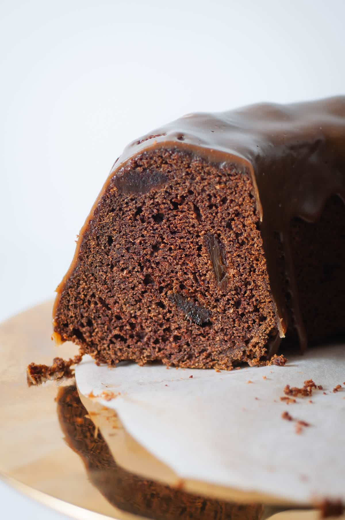 Gluten free date cake is naturally sweetened. Date cake gets its dark toned color from coffee.