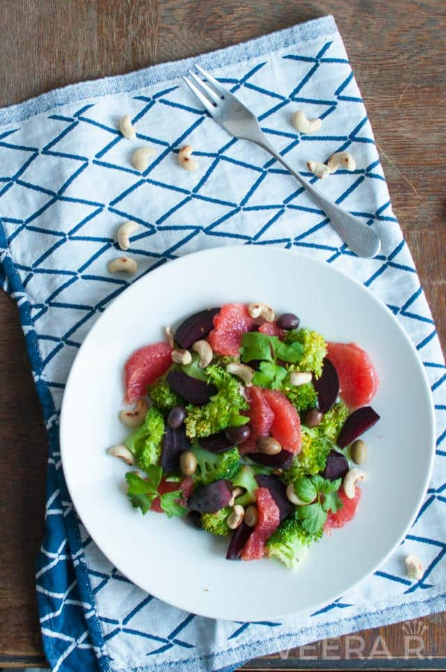 Beetroot and broccoli salad makes and hearty winter dish.