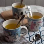 Turmeric ginger tea with lemon to boost your immune system and to fight cold, cough and sore throat.