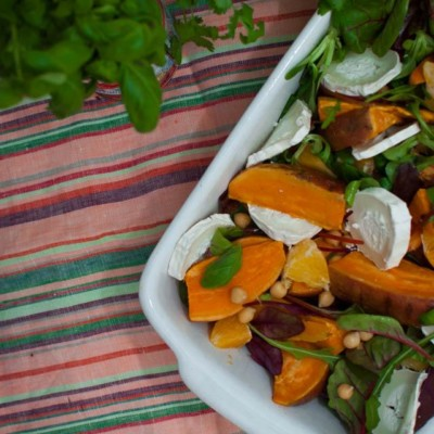 Roasted Sweet Potato Orange Salad with Goat Cheese