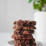 Sugar free vegan oat meal cookies with chocolate and raisin.