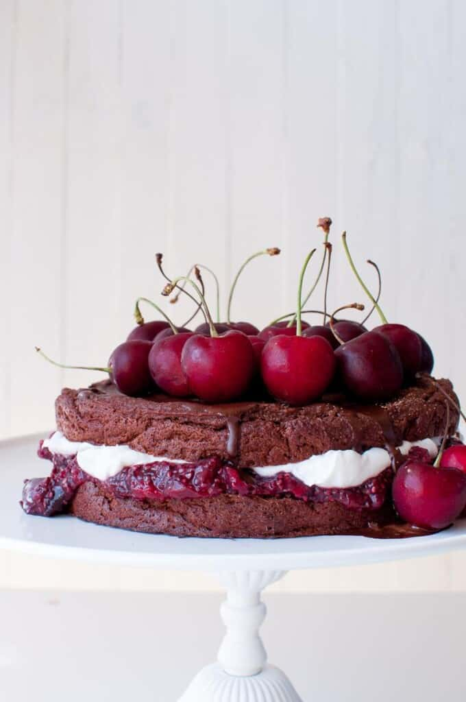 This vegan, sugar and gluten free black forest cake is simply amazing! No added sugar, no gluten as the cake is baked with quinoa!