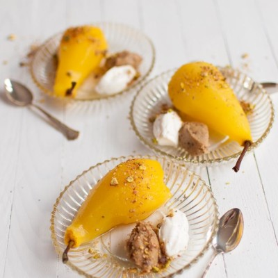 Poached Pears with Dukkah