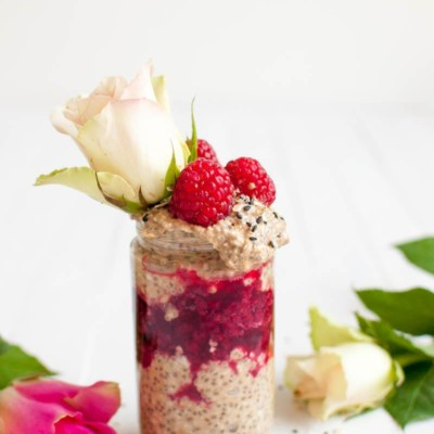 Licorice Overnight Oats with Raspberry Jam
