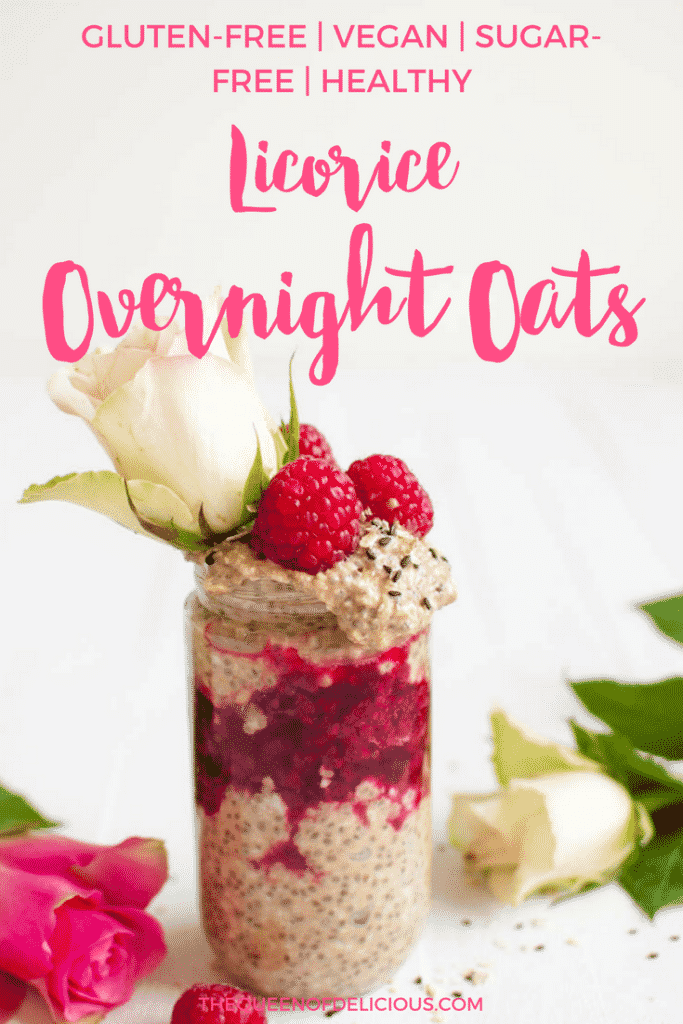 Licorice Overnight Oats with Raspberry Jam | Healthy Breakfast | Sugar-free | Gluten-free | Recipe