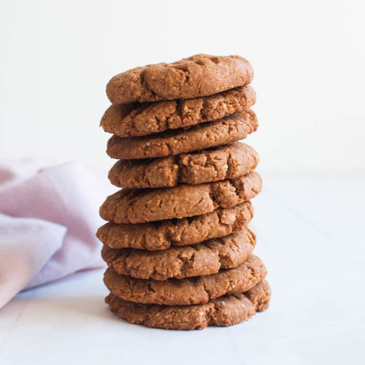 Peanut Butter Ginger Cookies | Vegan | Sugar-free baking | Gluten-free | Healthy recipe
