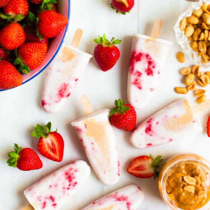 Peanut Butter Strawberry Popsicles | Vegan Ice Cream | Healthy Recipe | Paleo