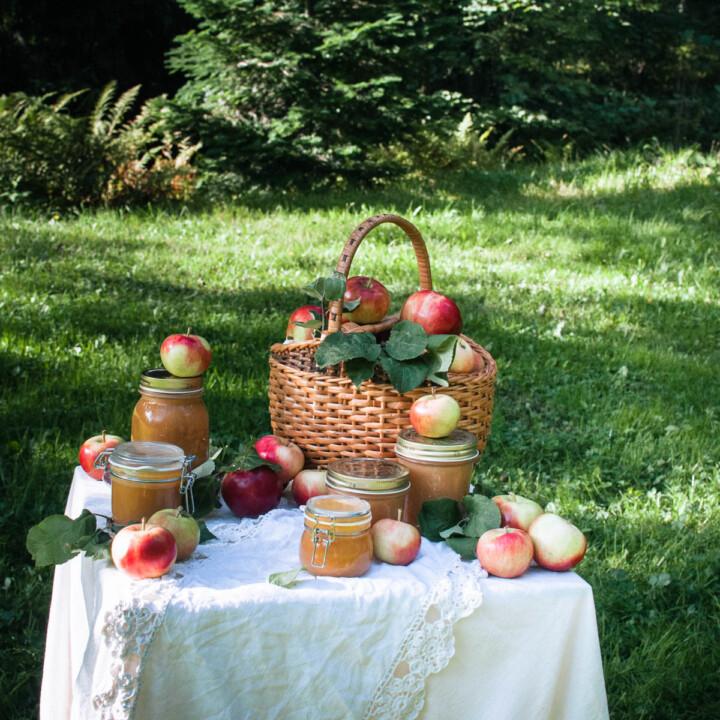 Luonnossa otettu kuva. Omenasose tölkkejä ja tuoreita omenoita pöydällä ja korissa.