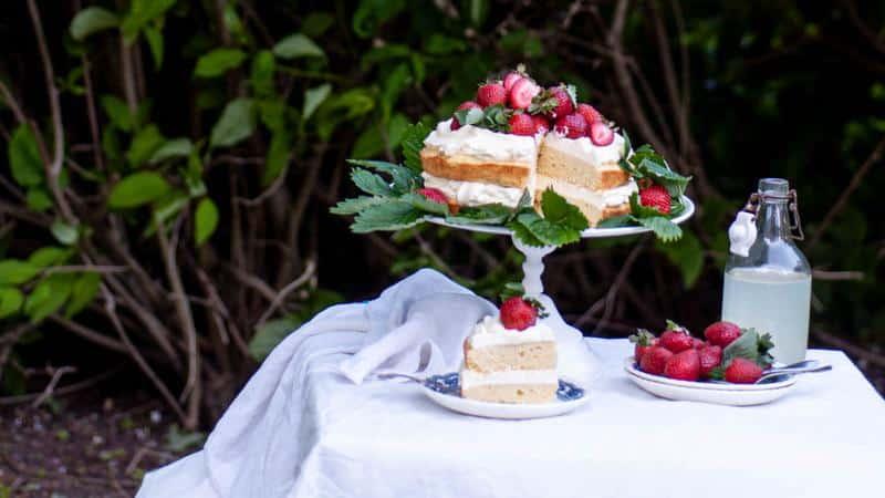 Sokeriton mansikka-sitruunakakku kuvattuna ulkona puutarhapöydällä.